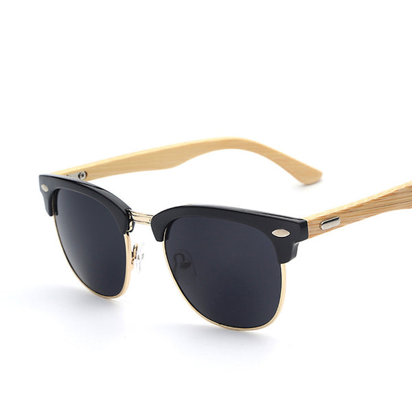 Half Metal Bamboo Wood Retro Vintage Fashion Sunglasses - primatrends.com