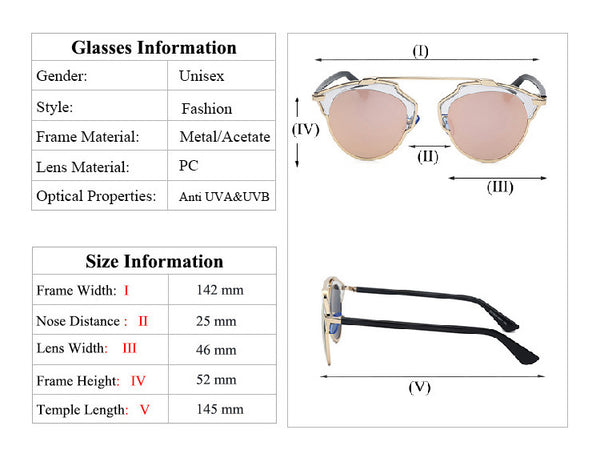 Metal Frame Mirror Shade Retro Vintage Fashion Sunglasses - primatrends.com