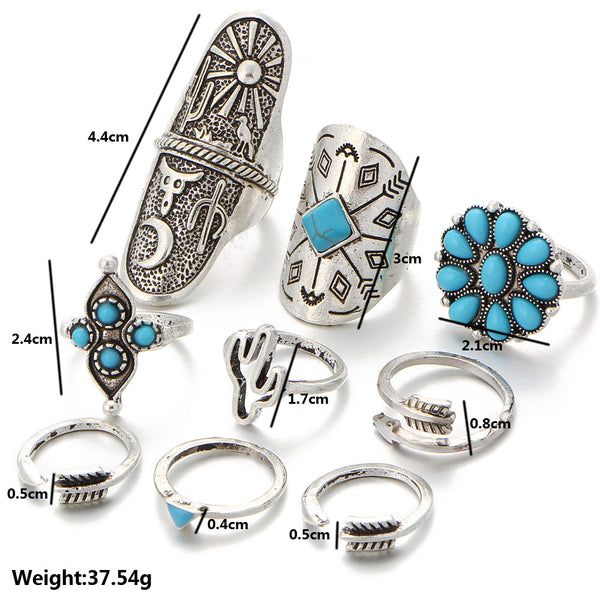 Turquoise Bohemian Style 9pcs Ring Set - primatrends.com