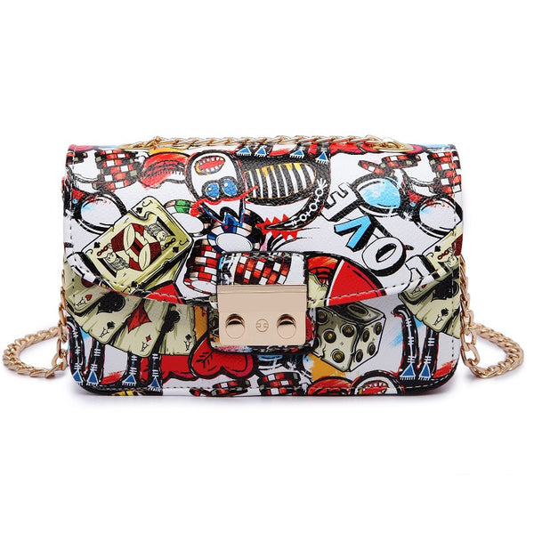 Love Graffiti Chain Mini Flap Handbag - primatrends.com