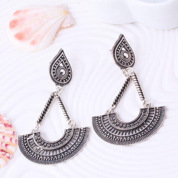 Antique Silver Hollow Water Drop Earrings - primatrends.com