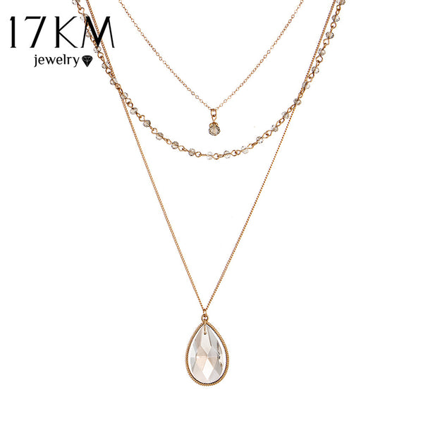 Multilayer Chain Crystal Water Drop Pendant Necklace - primatrends.com