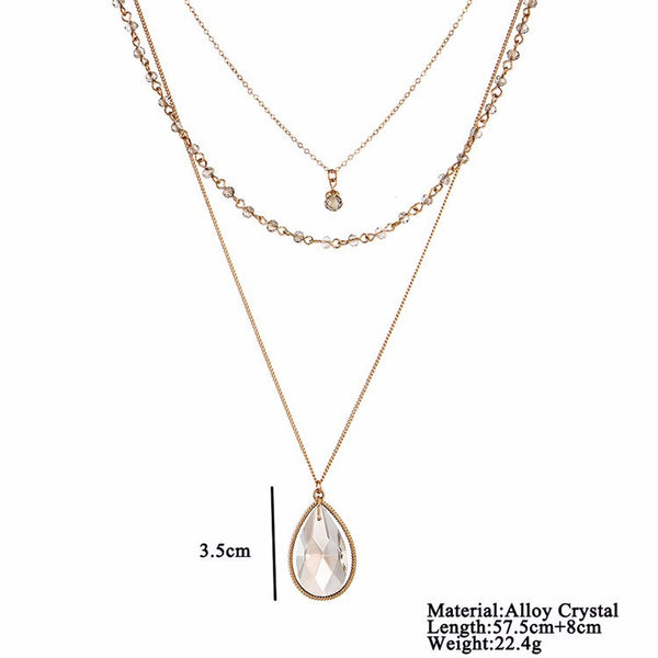 Multi-Layered Crystal Water Drop Pendant Necklace - primatrends.com
