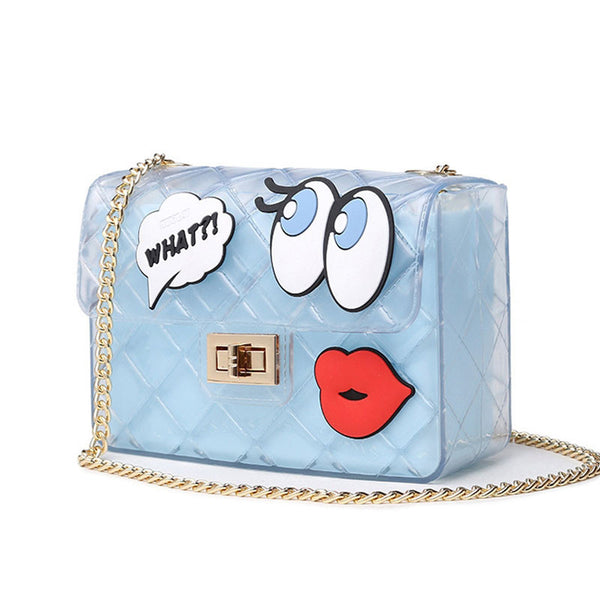Graffiti Red Lips Crossbody Jelly Bag - primatrends.com