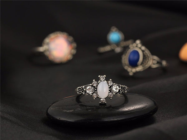 Boho Style Stone Rings 4pcs Set - primatrends.com