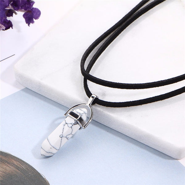Black Leather Stone Choker Necklace - primatrends.com