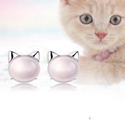 Silver Plated Cat Ear Pearl Earrings - primatrends.com