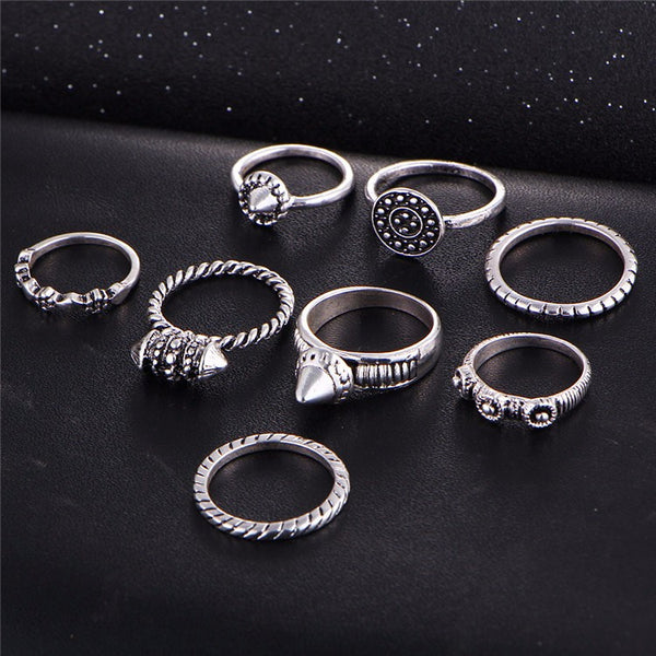 Bohemian Style Midi 8 Pcs Ring Set - primatrends.com