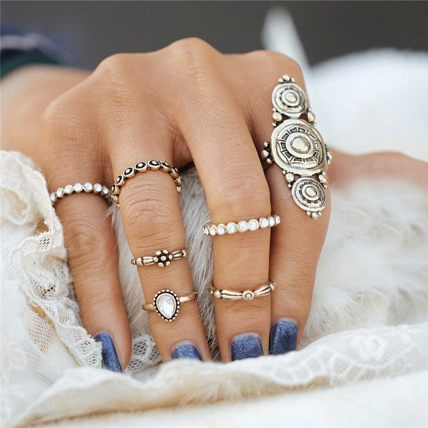 Gold Bohemian Style 7pcs Ring Set - primatrends.com