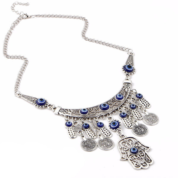 Statement Evil Eye Fatima Necklace - primatrends.com
