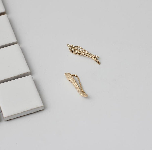 Gold Feather Leaf Stud Earrings - primatrends.com