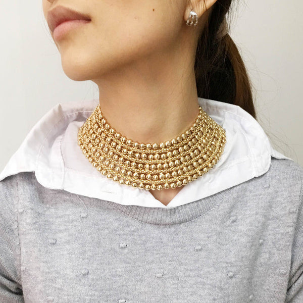Statement Chunky Metal Bib Collar Choker Necklace - primatrends.com