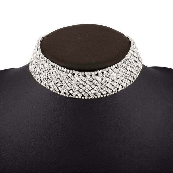 Crystal Encrusted Choker Necklace - primatrends.com