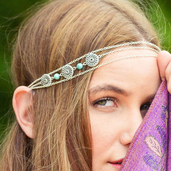 Bohemian Style Turquoise & Coin Head Chain - primatrends.com