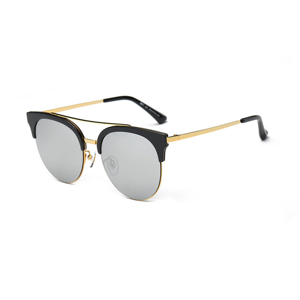 Oversized Round Cat Eye Mirror Sunglasses - primatrends.com