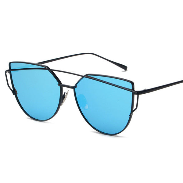 Vintage Mirror Shades Women Metal Frame Flat Sunglasses - primatrends.com