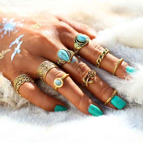 Boho Style 10pcs Midi Ring Set - primatrends.com