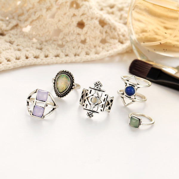 Boho Style 5pcs Midi Ring Set - primatrends.com