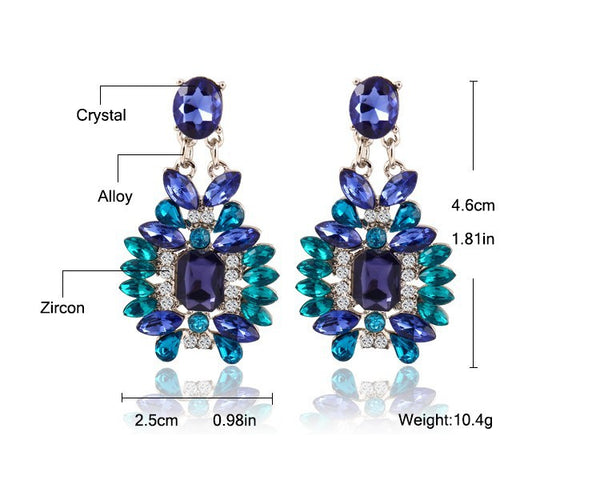 Colorful Bohemian Large Crystal Drop Earrings - primatrends.com