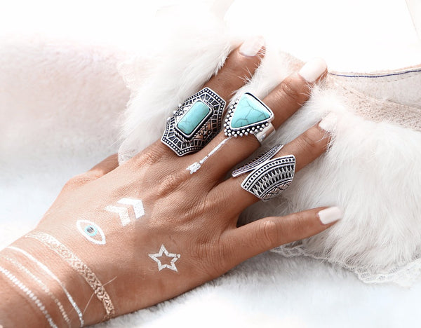 Boho Vintage Silver Plated 3pcs Ring Set - primatrends.com