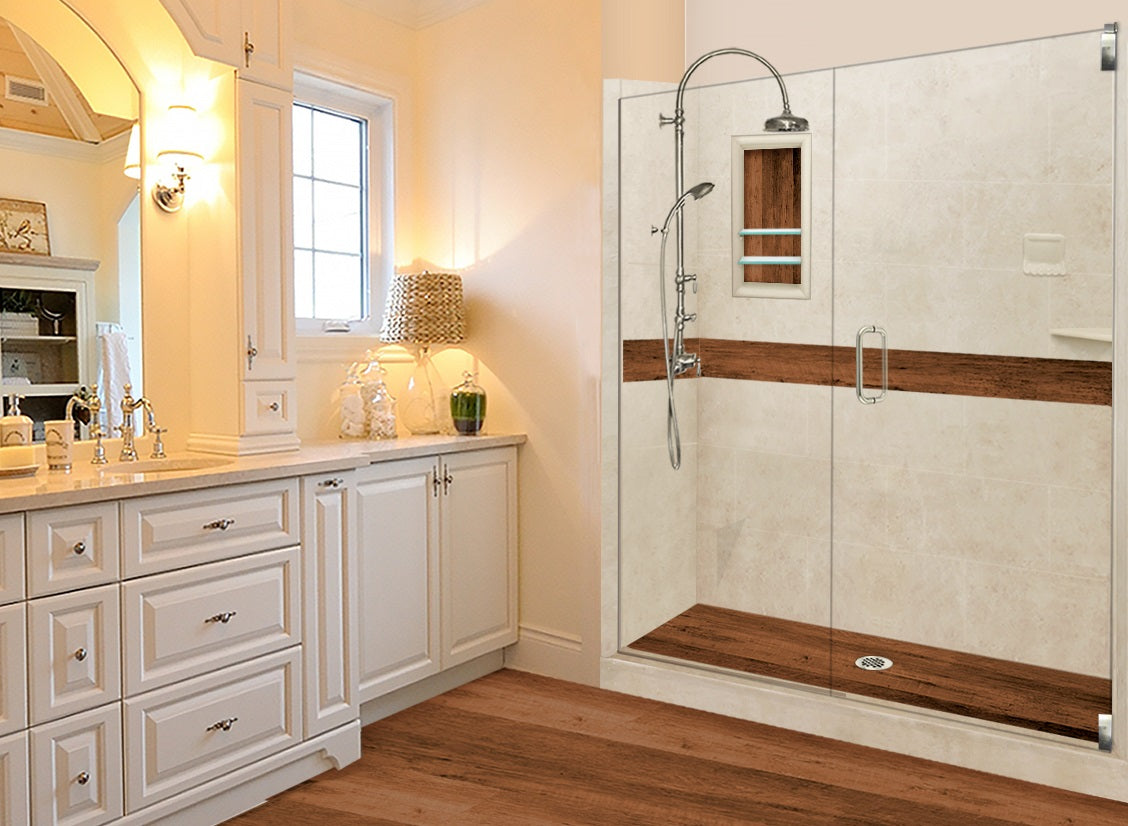 alcove sterling oak easy access wood shower kit collection easy install