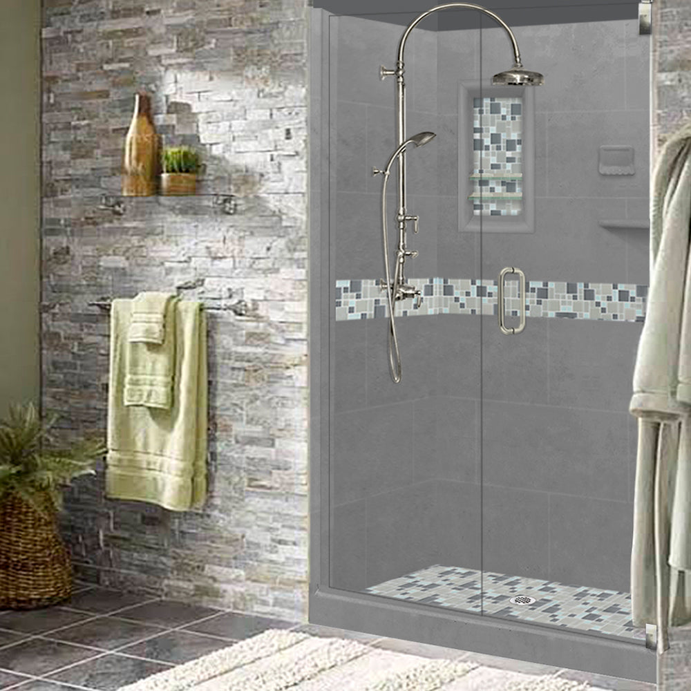 Mosaic Shower Kit, Alcove, Freedom, Neo, Corner, Small, Walk in, tile, wet cement, custom, shower pan, easy install, freedom shower, accessible, safety