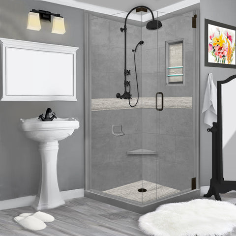 COUPON Sterling Oak Wet Cement Corner Shower Kit