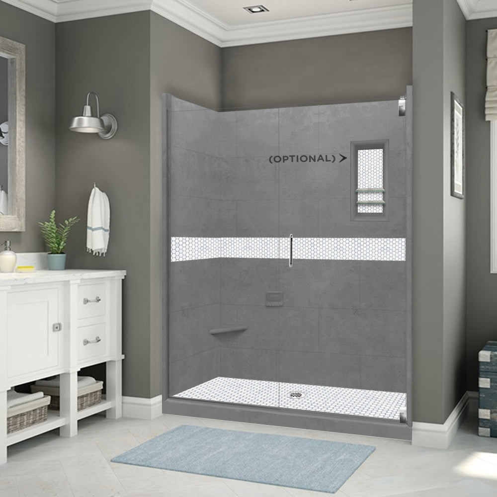 "Pearl Hex Wet Cement 60"" Alcove Shower Kit"