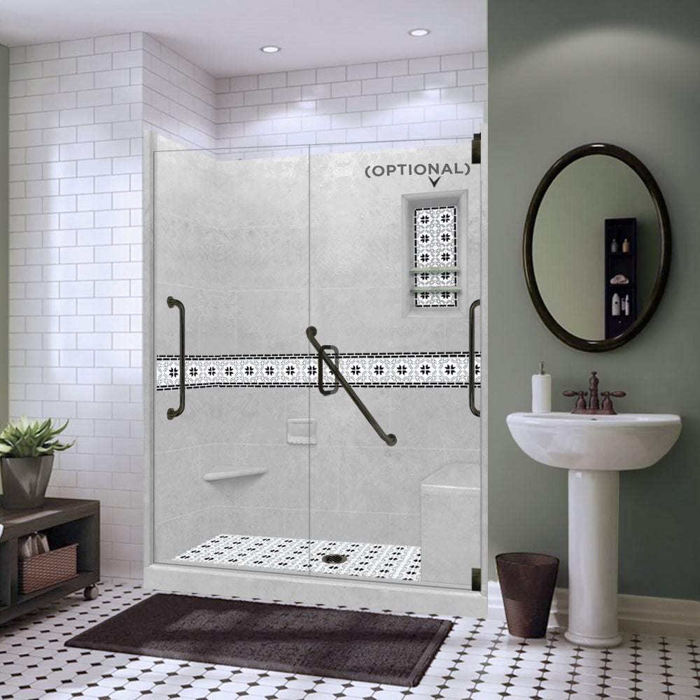 "Freedom Star Mosaic Portland Cement 60"" Alcove Shower Kit"