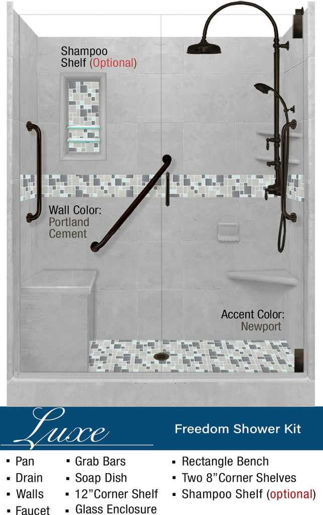 "Stone & Glass Mosaic Freedom Shower Kit Newport 60"" Alcove G  Google Shower - American Bath Factory"