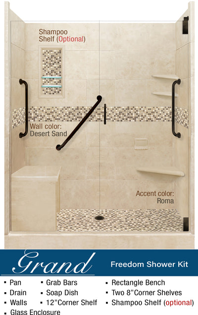Roma Mosaic Freedom Alcove Shower Kit G  Shower Kit - American Bath Factory