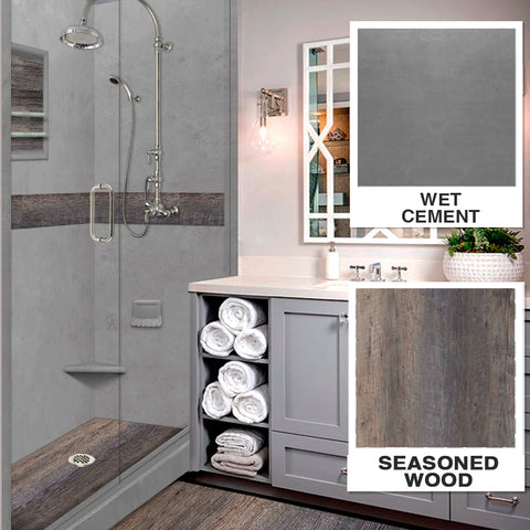 "Seasoned Wood Wet Cement  60"" Alcove Shower Kit"