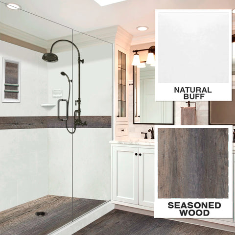 "Seasoned Wood Natural Buff  60"" Alcove Shower Kit"