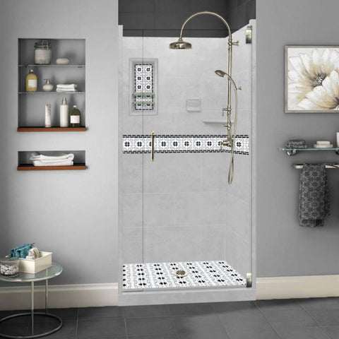 Star Mosaic Portland Cement Small Alcove Shower Kit