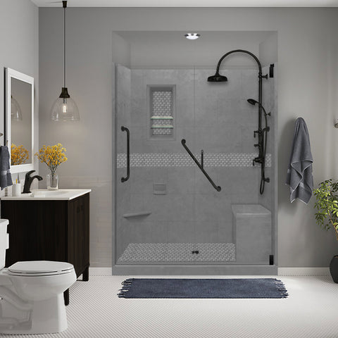 "Freedom Jewel Wet Cement 60"" Alcove Shower Kit"