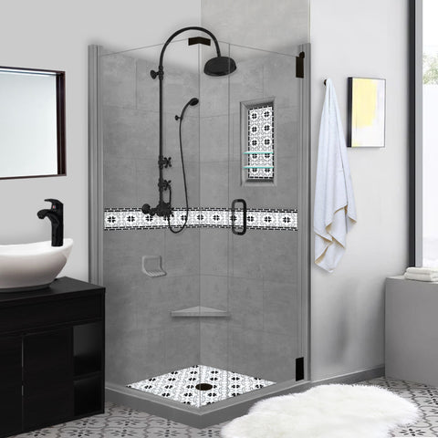 Star Mosaic Wet Cement Corner Shower Kit