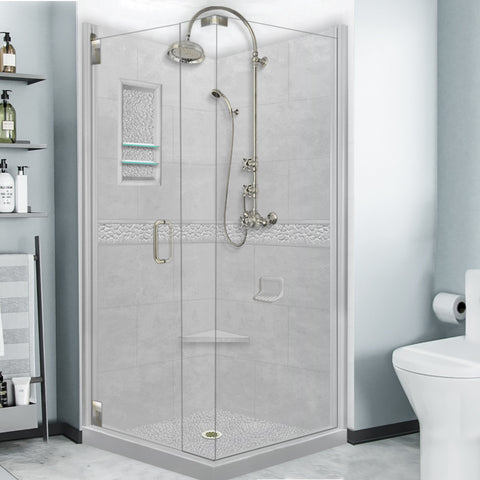 Pebble Portland Cement Granite Corner Shower Kit