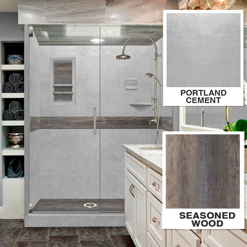 "Seasoned Wood Portland Cement  60"" Alcove Shower Kit"
