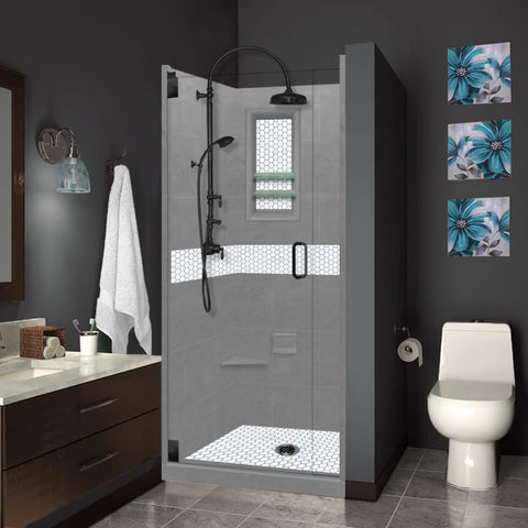 Pearl Hex Mosaic Wet Cement Small Alcove Shower Kit