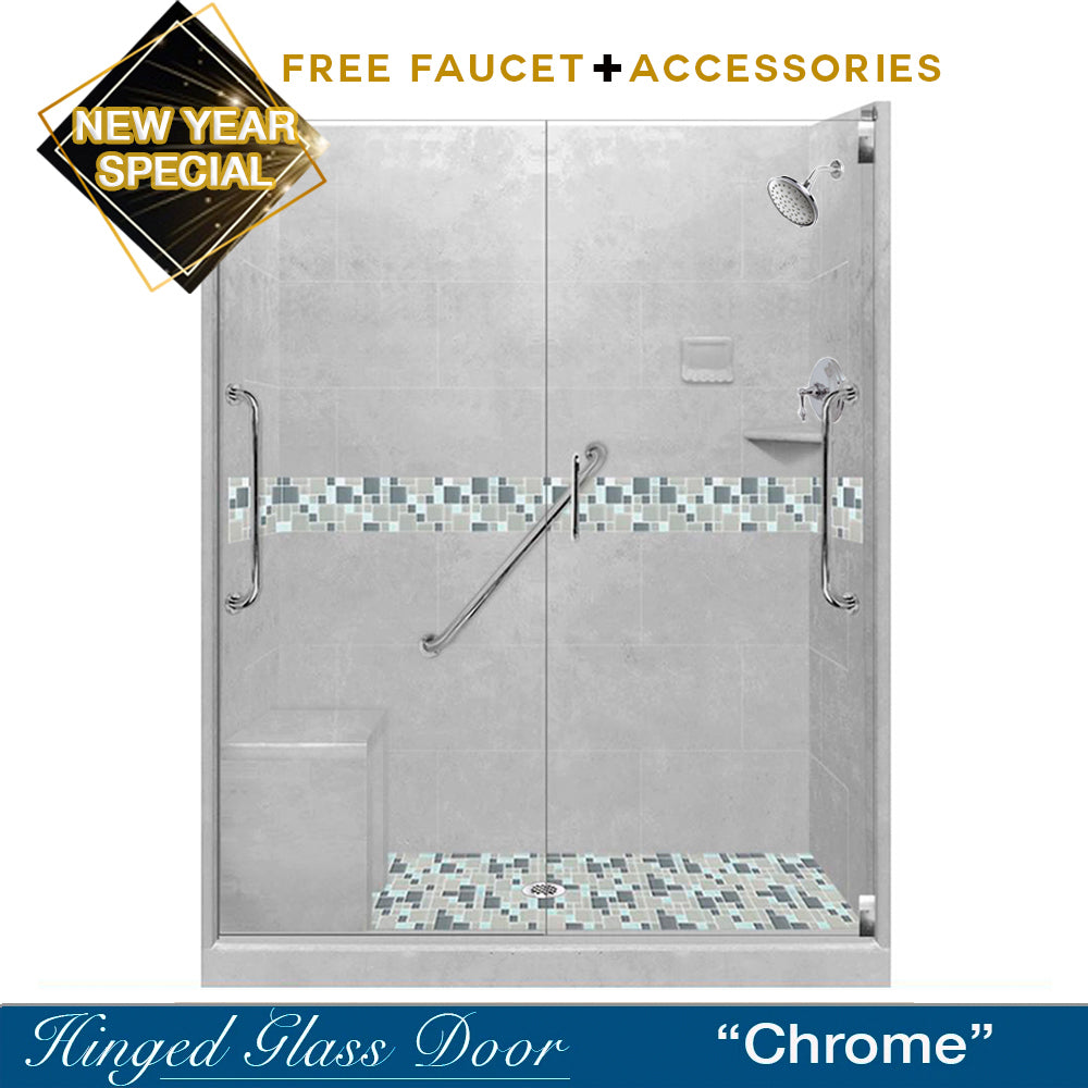 "NEW YEAR'S SPECIAL! Freedom Newport Portland Cement 60"" Alcove Shower Kit with FREE FAUCET & ACCESSORIES"