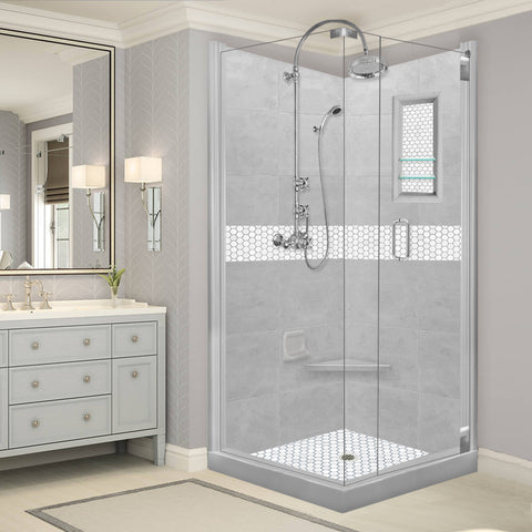 Pearl Hex Mosaic Portland Cement Corner Shower Kit