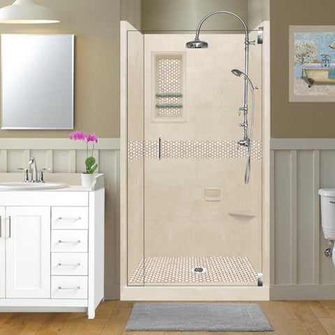 Honey Hex Mosaic Desert Small Alcove Shower Kit