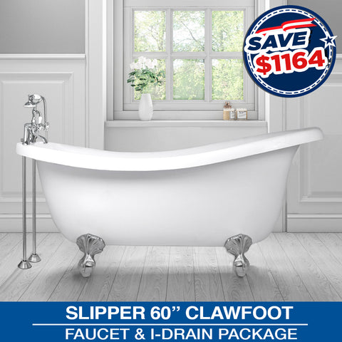 "Slipper 60"" Clawfoot & Faucet Package with Drain Options"