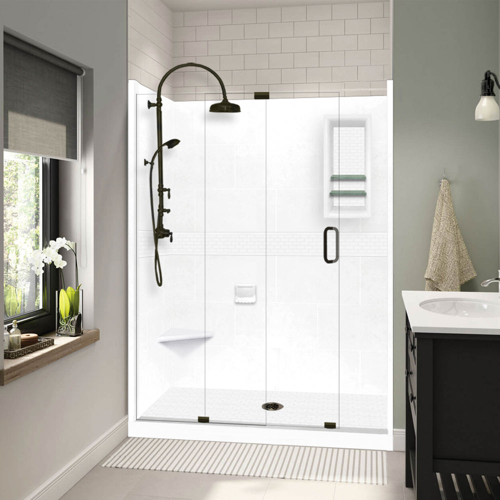 "Classic Natural Buff 60"" Alcove Shower Kit"