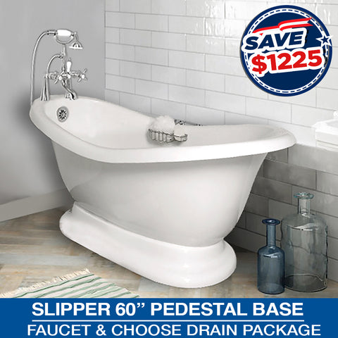 "Slipper 60"" Pedestal Base & Faucet Package & Choose Drain"