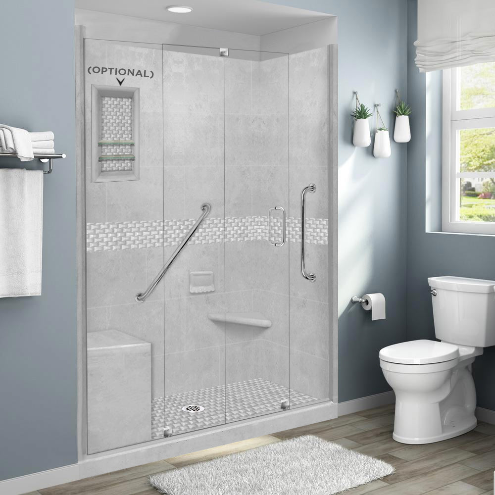 "Freedom Jewel Portland Cement 60"" Alcove Shower Kit"