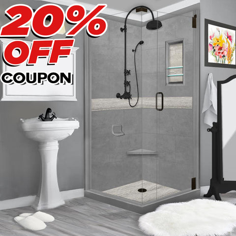 Sterling Oak Wet Cement Corner Shower Kit: USE COUPON to take 20% OFF price below