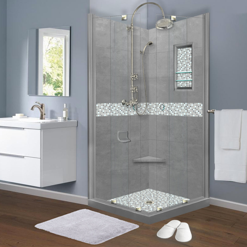 Del Mar Mosaic Wet Cement Corner Shower Kit