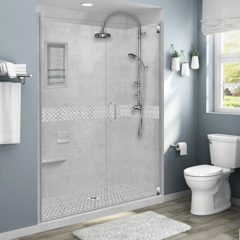 "Jewel Portland Cement 60"" Alcove Shower Kit"