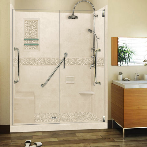 "Freedom Pebble Desert Sand 60"" Alcove Shower Kit"